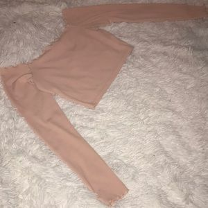 Nasty Gal Pink Off the Shoulder Long Sleeve